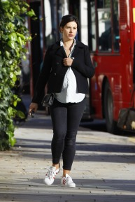 FAMEFLYNET - Exclusive: Pregnant Amelia Warner Seen Out And About In West London